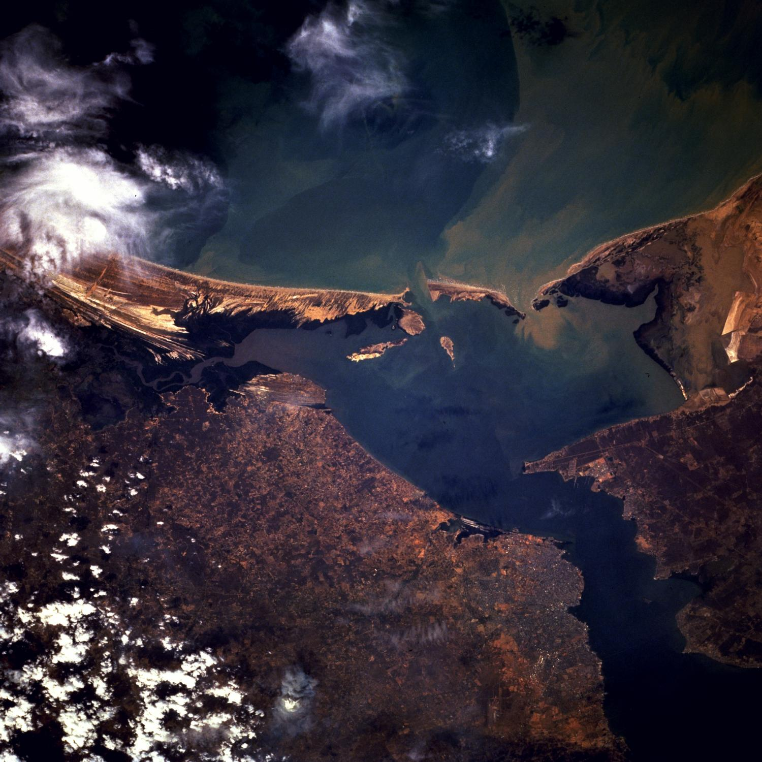 Satellite Image, Photo of Maracaibo City, Bay of Tablazo, Venezuela