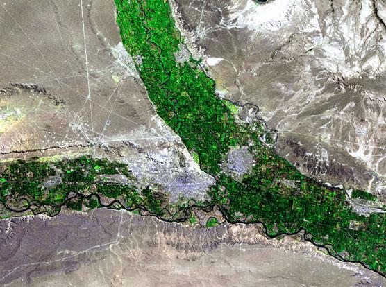 Imagen, Foto Satelite de la Ciudad de Neuquén, Prov. Neuquén, Argentina