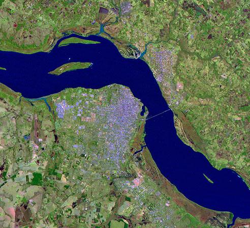 Satellite Image, Photo of Posadas City, Prov. Misiones, Argentina
