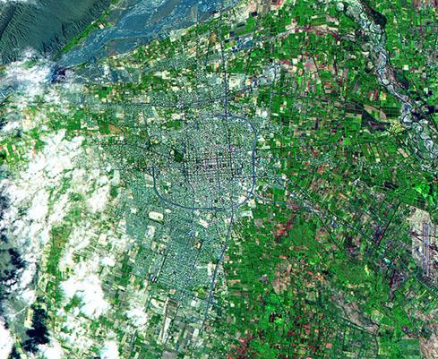 Satellite Image, Photo of San Juan City, Prov. San Juan, Argentina