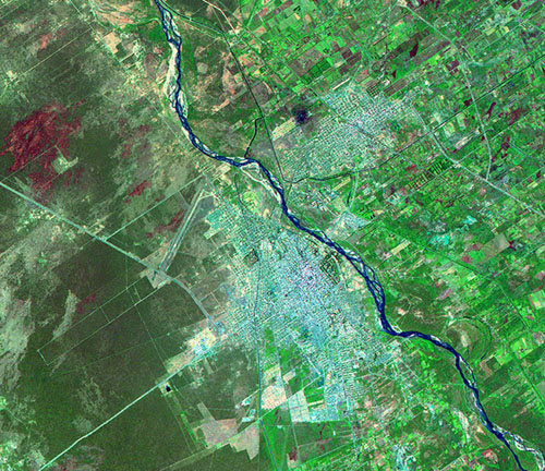 Satellite Image, Photo of Santiago del Estero City, Prov. Santiago del Estero, Argentina