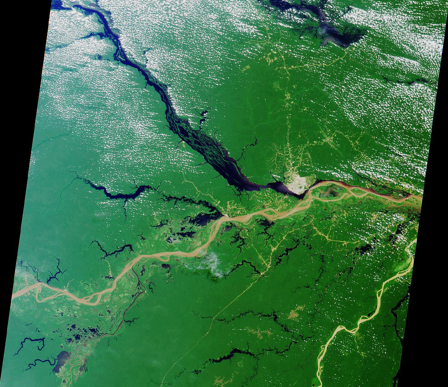 Satellite Image, Photo of the Convergence (Rios Solimoes and Negro) forming the Amazon River, Brazil