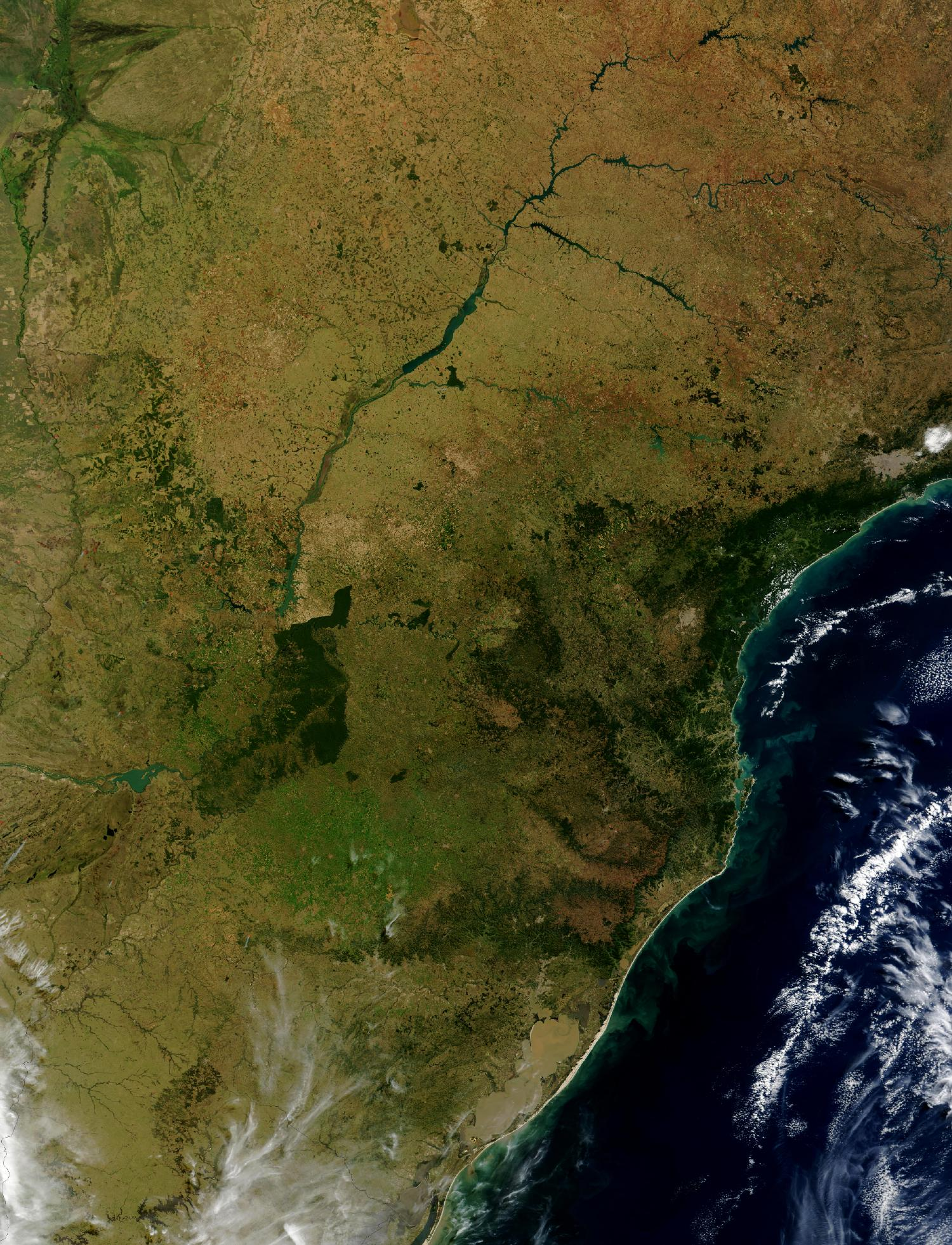 Satellite Image, Photo of Brazil's Southern Atlantic Coastline