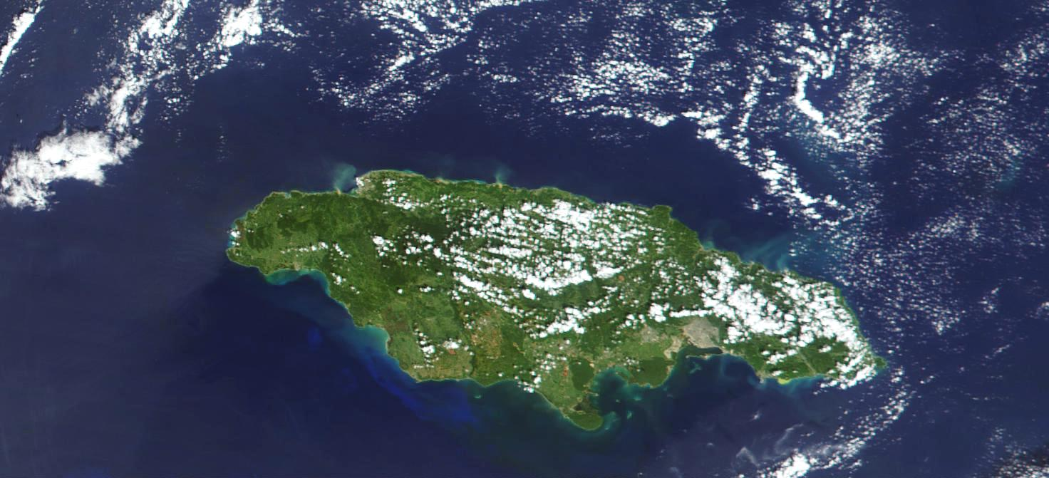 Satellite Image, Photo, Island of Jamaica