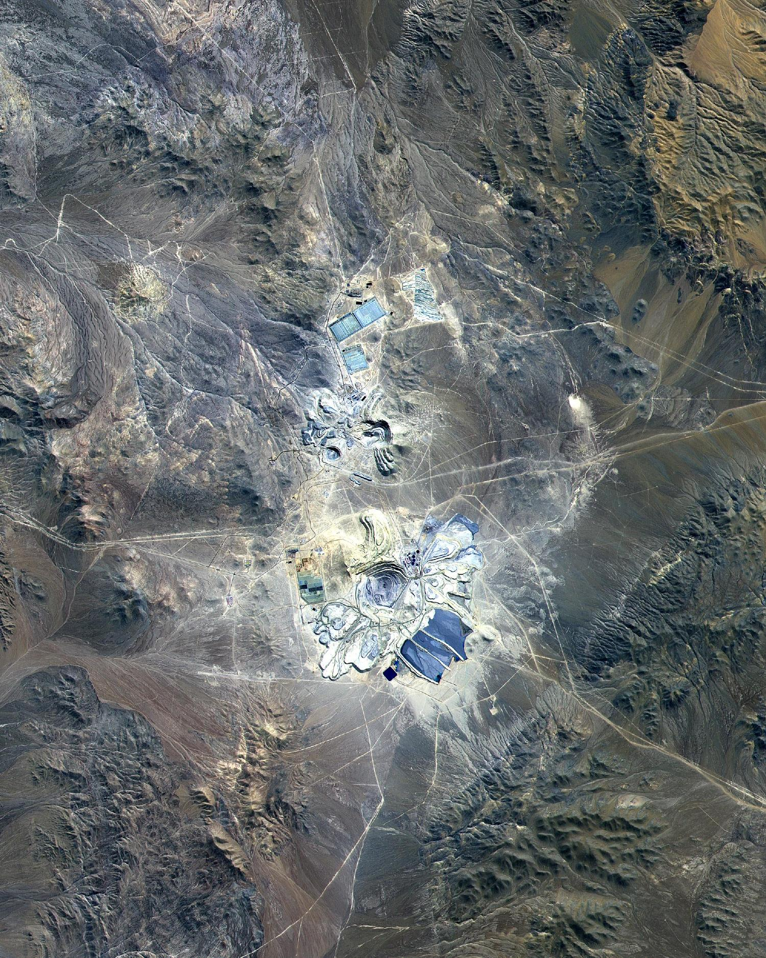 Satellite Image, Photo of Escondida Mine, Atacama Desert, Chile