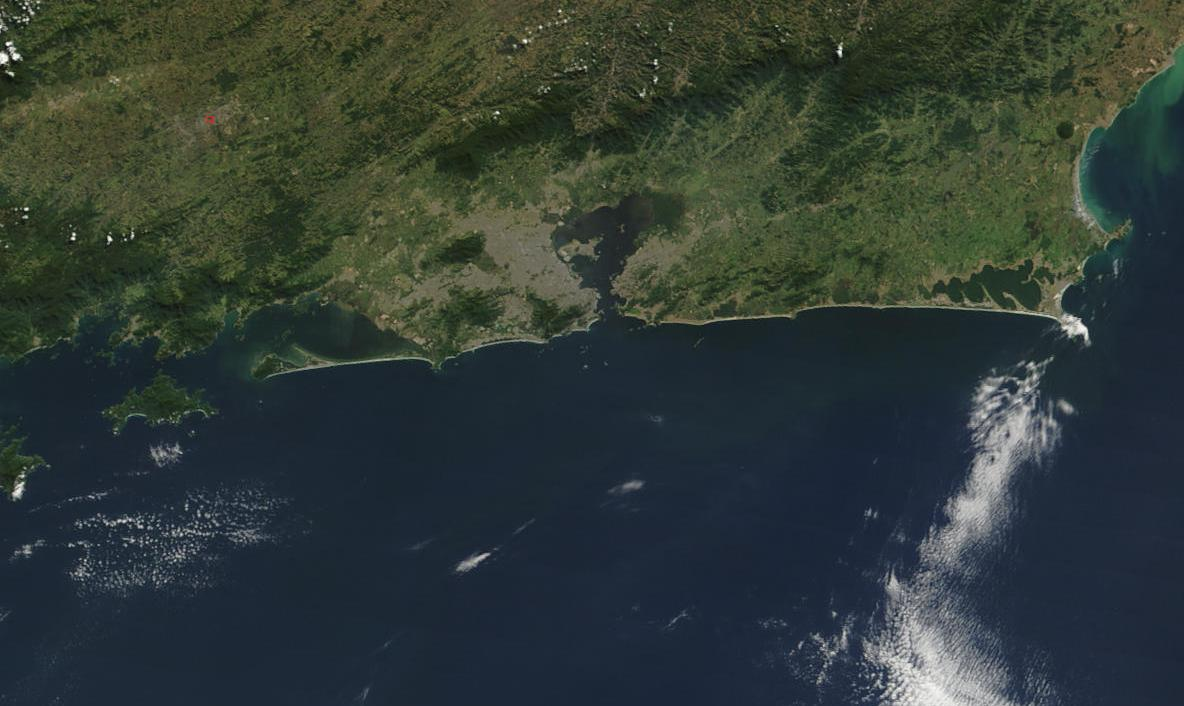 Satellite Image, Photo of Rio de Janeiro City Area, Rio de Janeiro State, Brazil