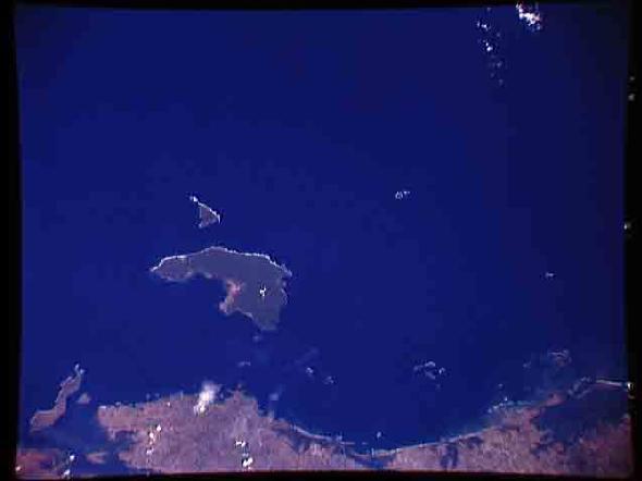 Imagen, Foto Satelite de las Islas Coiba y Jicaron, Panamá