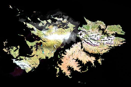 Imagen, Foto Satelite de las Islas Malvinas