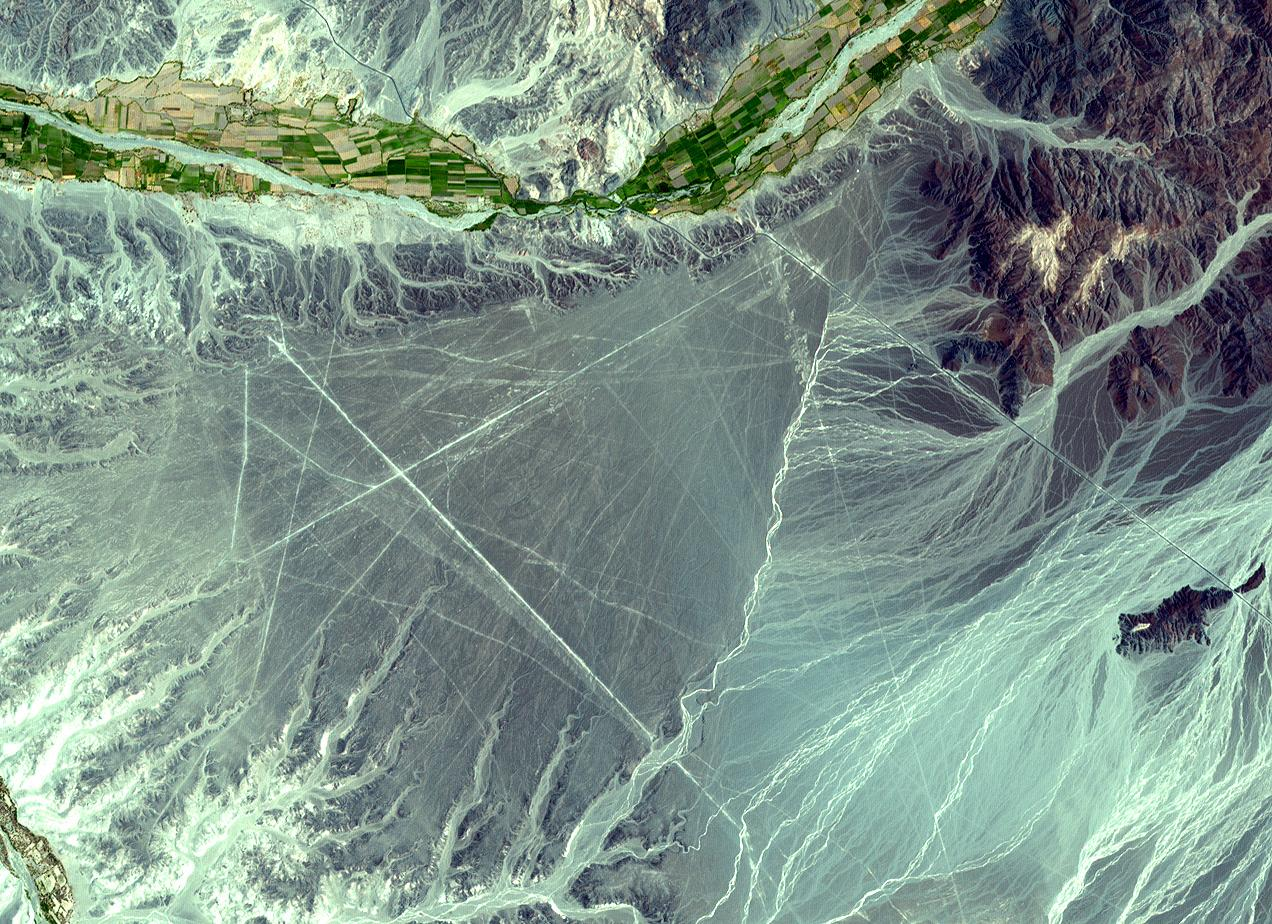 Satellite Image, Photo of the Nazca Lines, Peru