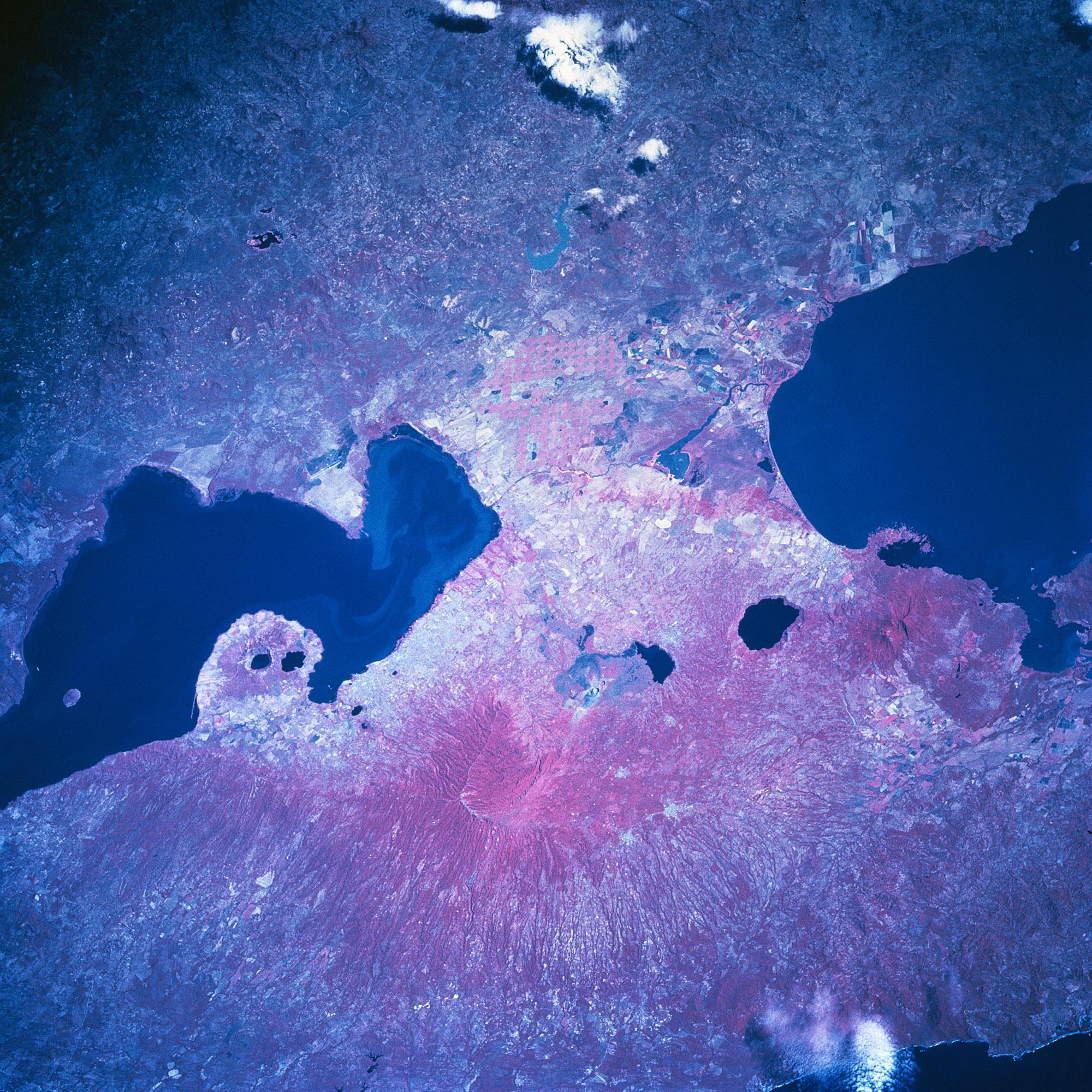 Satellite Image, Photo of Lakes Managua & Nicaragua, Nicaragua