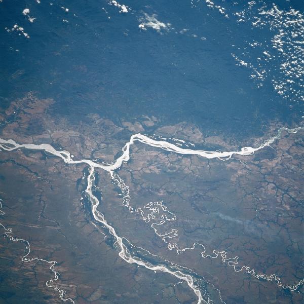 Imagen, Foto Satelite de los Rios Orinoco y Meta, Colombia y Venezuela
