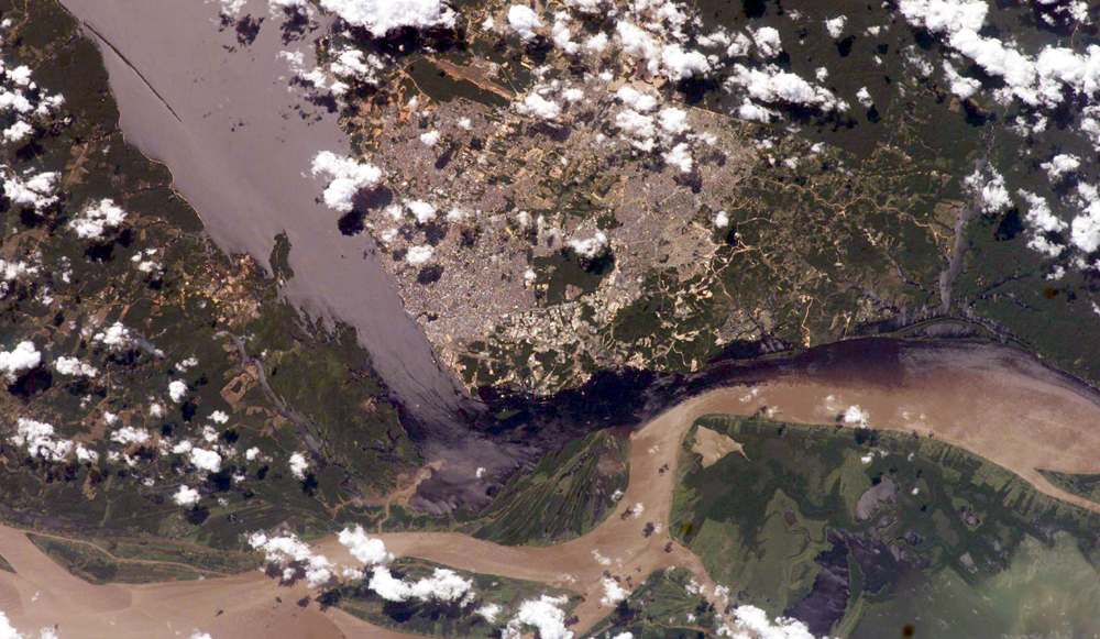 Satellite Image, Photo of Solimões and the Negro Rivers & Manaus City