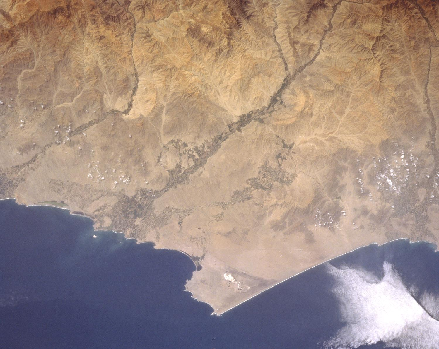Satellite Image, Photo of Huacho Area, Peru