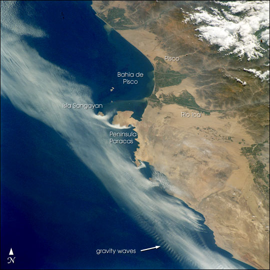 Satellite Image, Photo of Pisco Area, Peninsula Paracas and Isla Sangayan, Peru