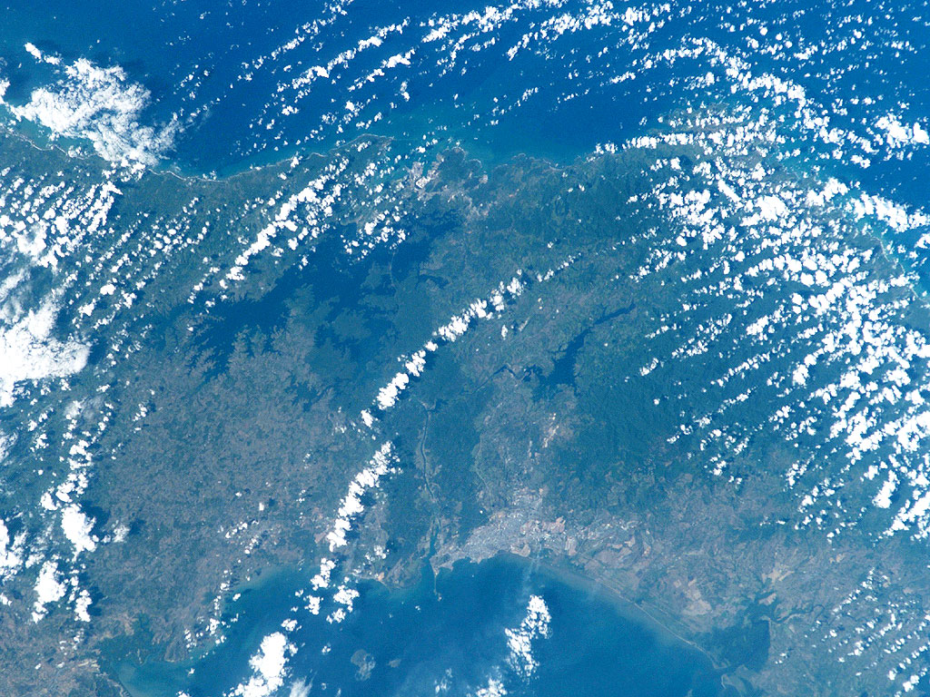 Satellite Image, Photo of Panama Canal, Caribbean, Pacific Ocean