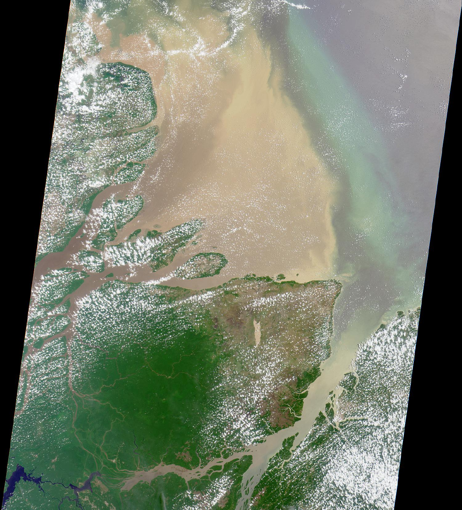 Imagen, Foto Satelite del Delta del Rio Amazonas, Brasil, Brasil