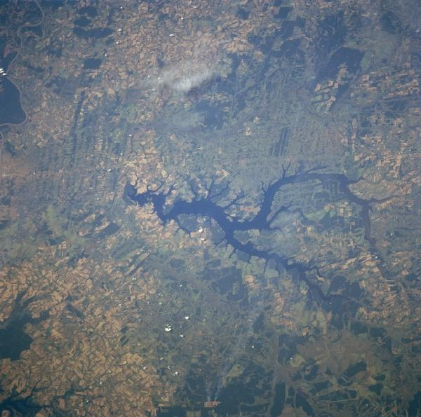 Satellite Image, Photo of Yguazu River Reservoir, Paraguay