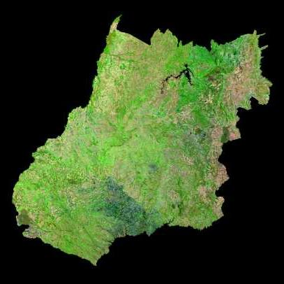 Satellite Image, Photo of Goiás State & Distrito Federal, Brazil