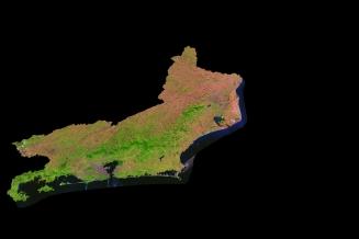 Satellite Image, Photo of Rio de Janeiro State, Brazil