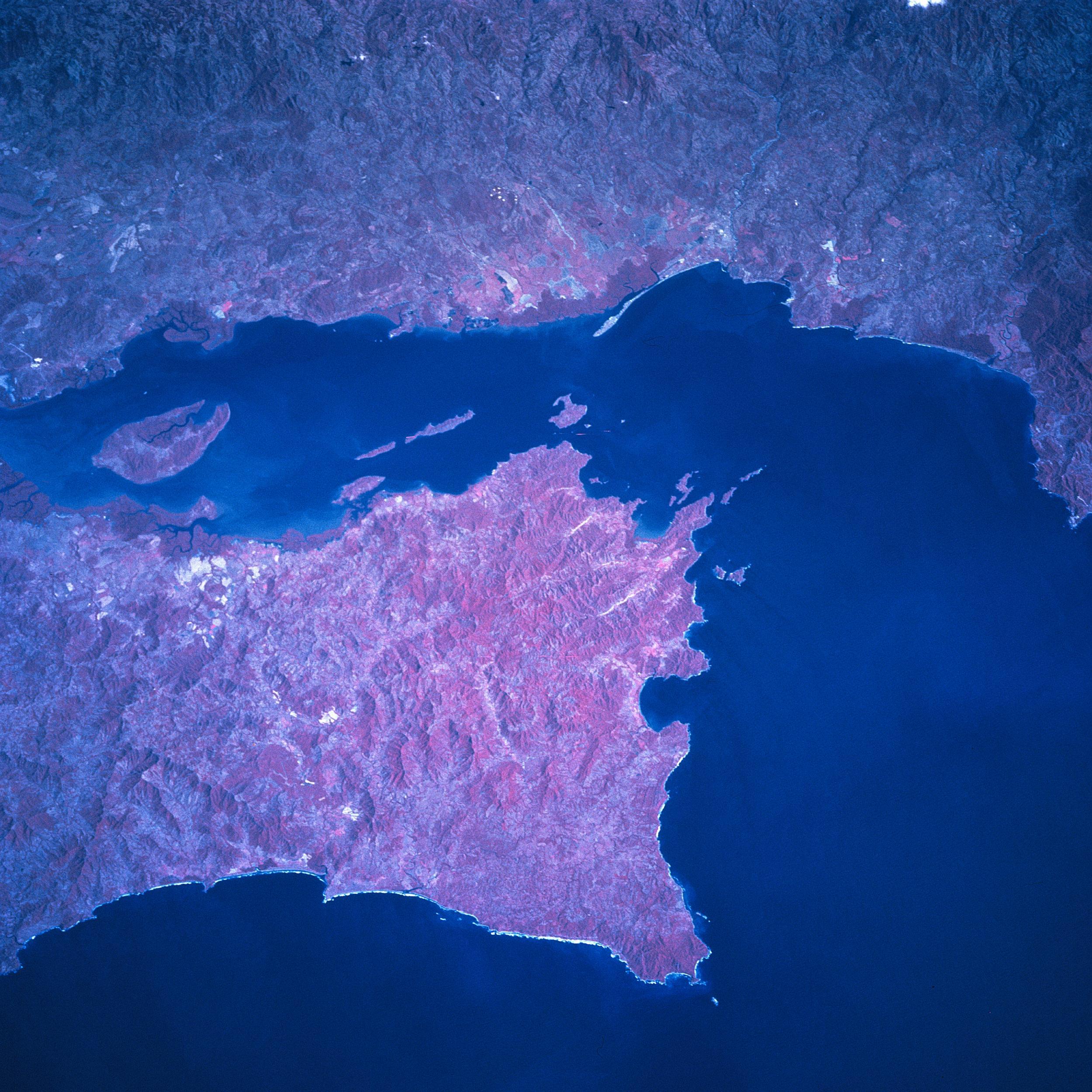 Satellite Image, Photo of Nicoya Gulf, Peninsula, Costa Rica