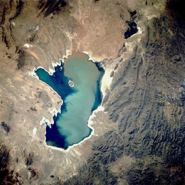 Satellite Image, Photo of Lake Poopo, Bolivia