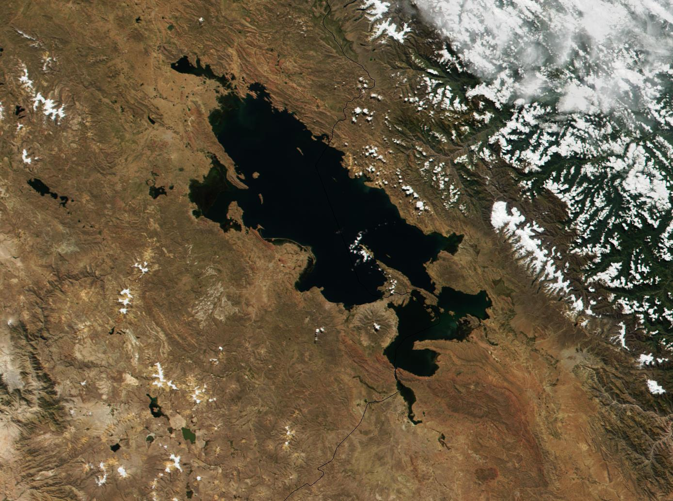 Satellite Image, Photo of Titicaca Lake, Bolivia - Peru