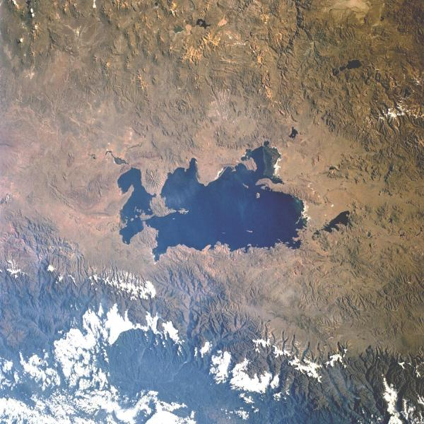 Satellite Image, Photo of Lake Titicaca, Peru and Bolivia