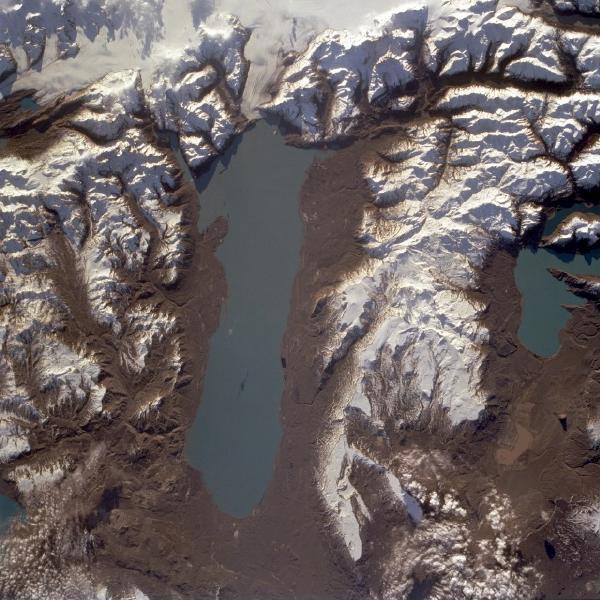 Satellite Image, Photo of Lake Viedma, Santa Cruz Province, Argentina