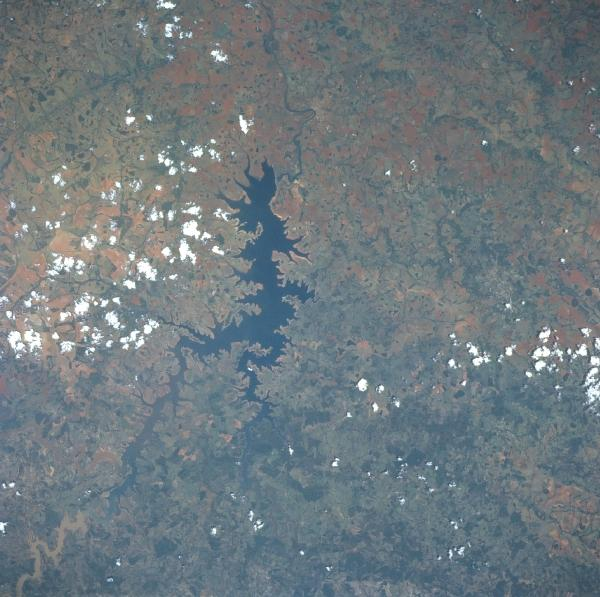 Satellite Image, Photo of the Paranaiba River Reservoir, Brazil