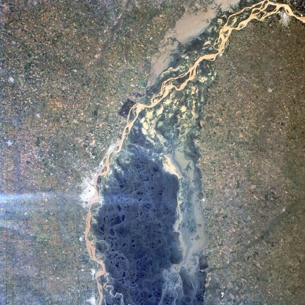 Satellite Image, Photo of Paraná River, Argentina