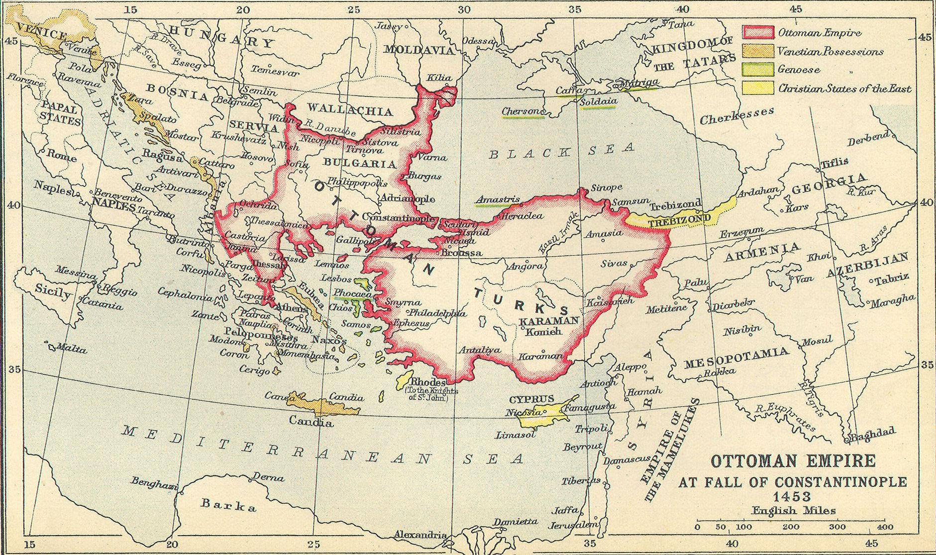 Imperio Otomano a la caída de Constantinopla 1453