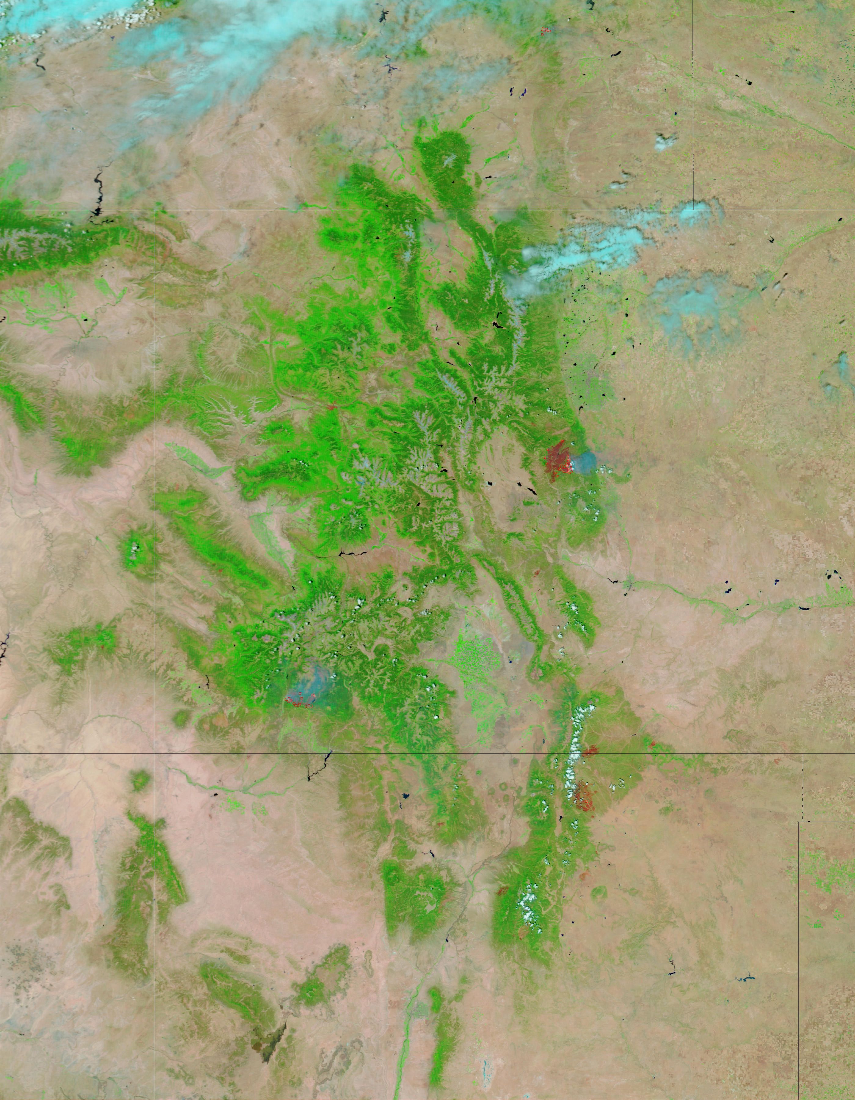 Wildfires and burn scars in Colorado and New Mexico