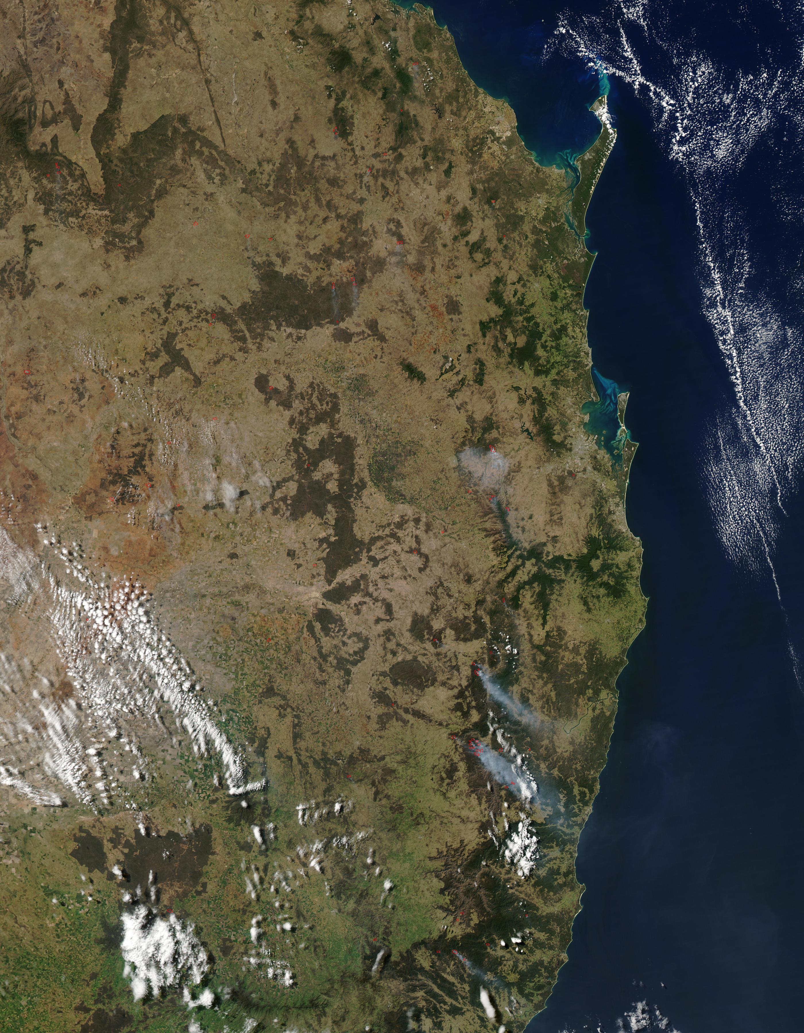 Incendios a lo largo de la costa este de Australia