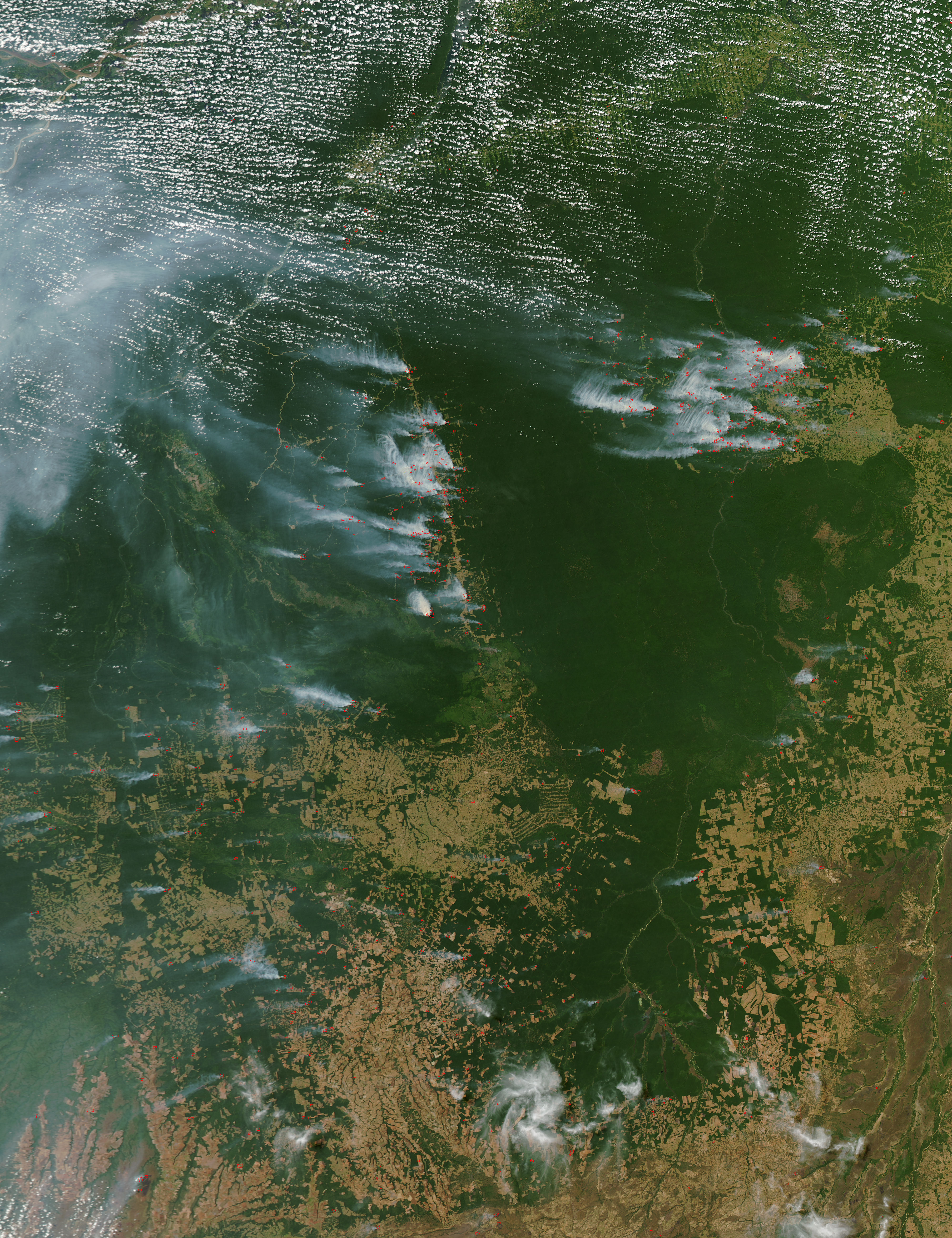 Incendios a través del Mato Grosso, Brasil (seguimiento satelital de la tarde)