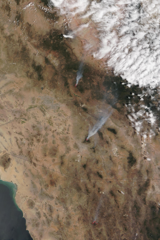 Incendios en Arizona (seguimiento satelital de la mañana)