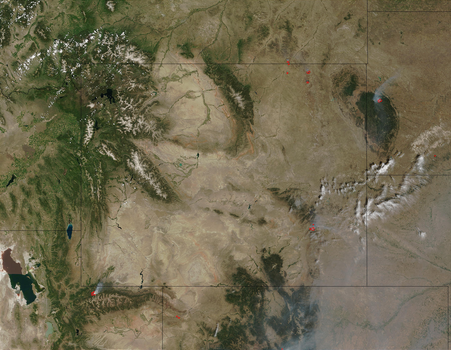 Fires in Wyoming and South Dakota