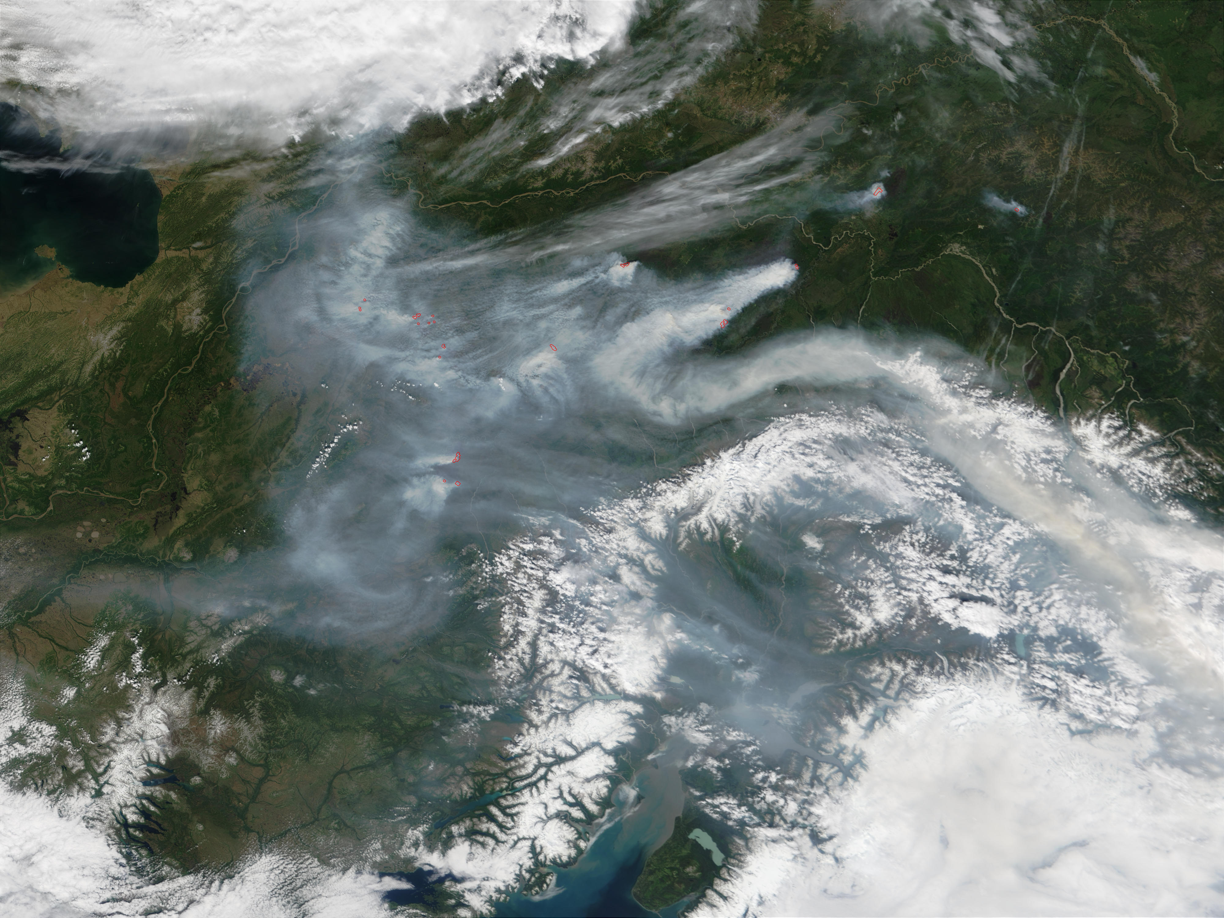 Wildfires and smoke in Central Alaska