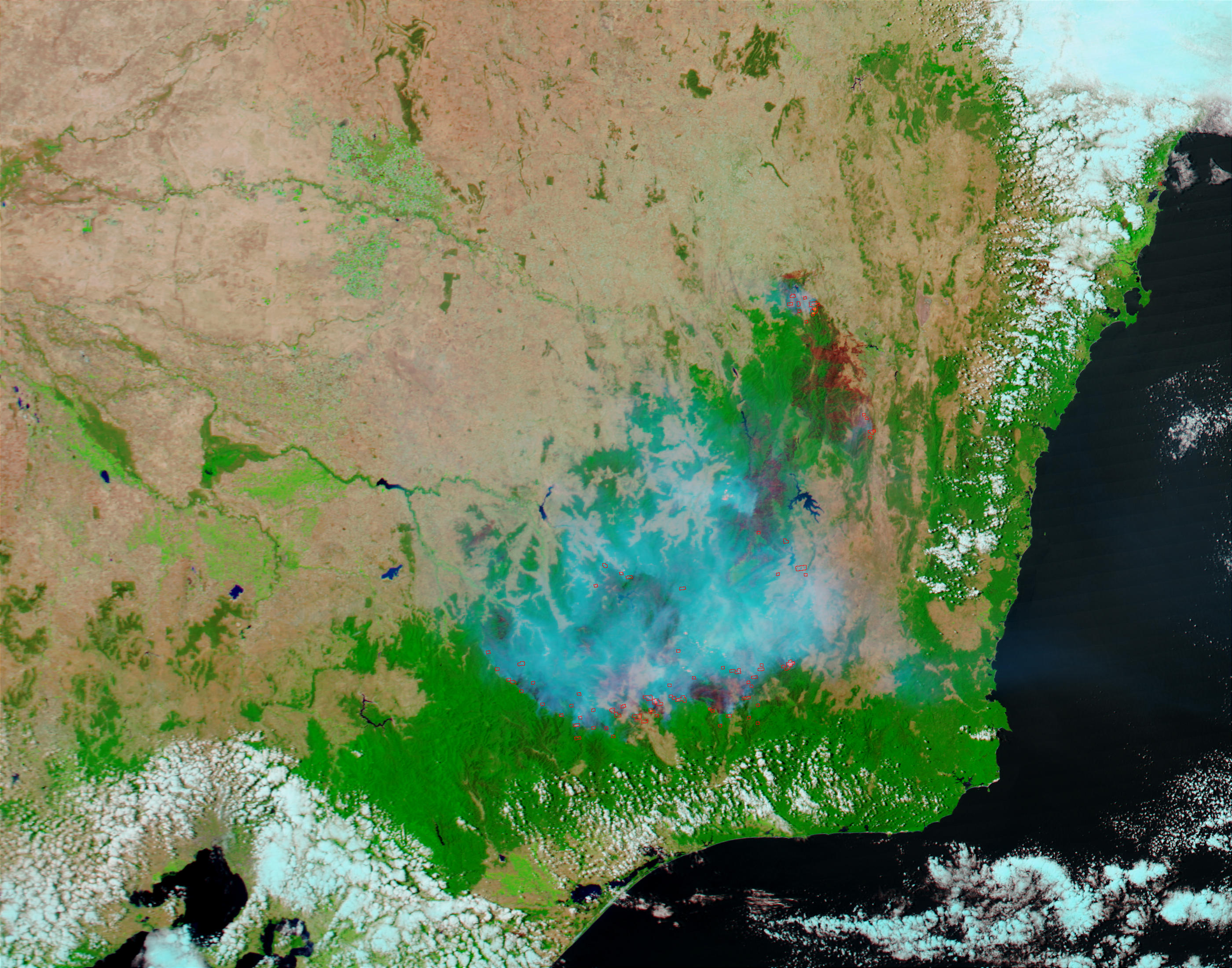 Fires and burn scars in Southeast Australia
