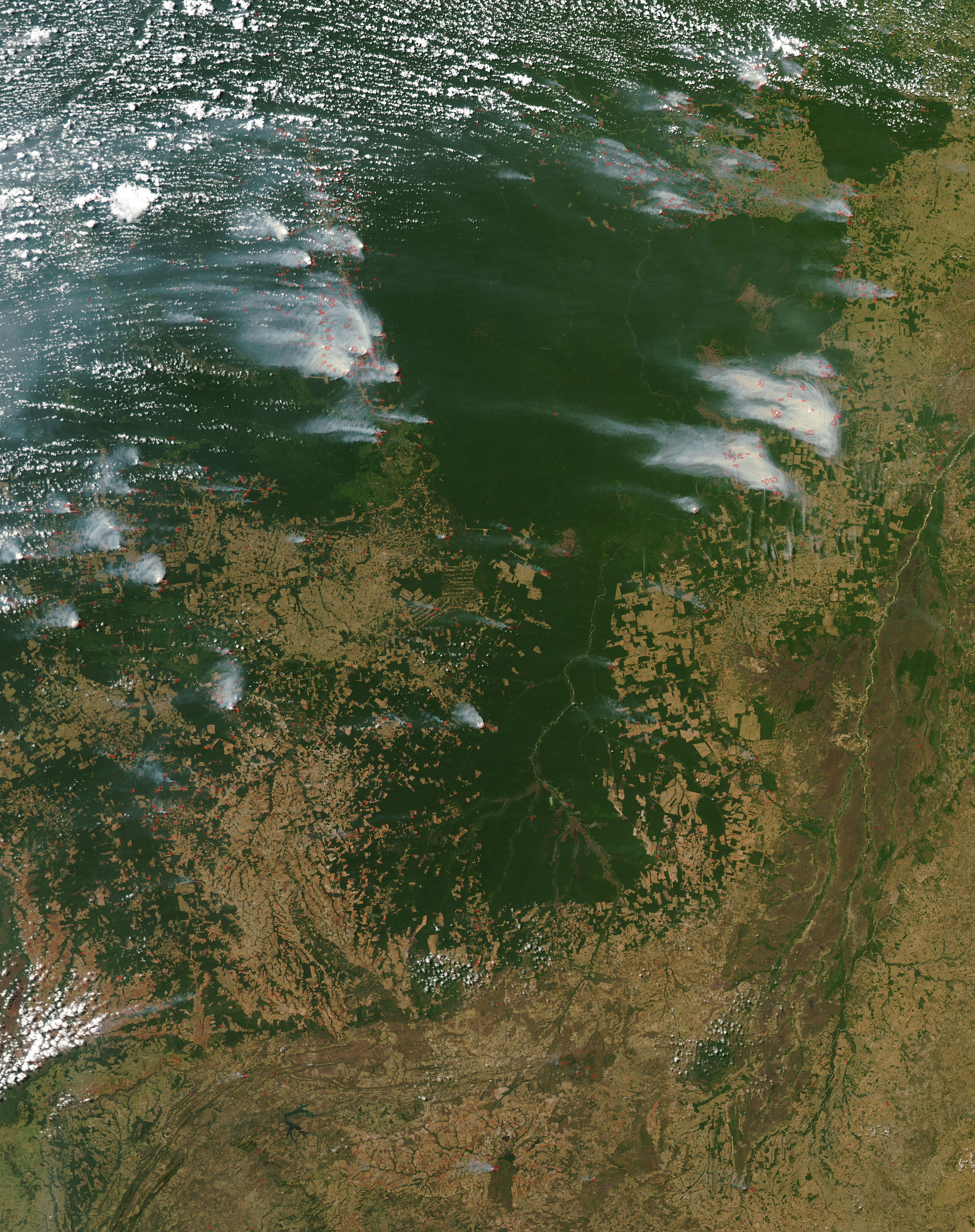 Fires and smoke across Mato Grosso, Brazil