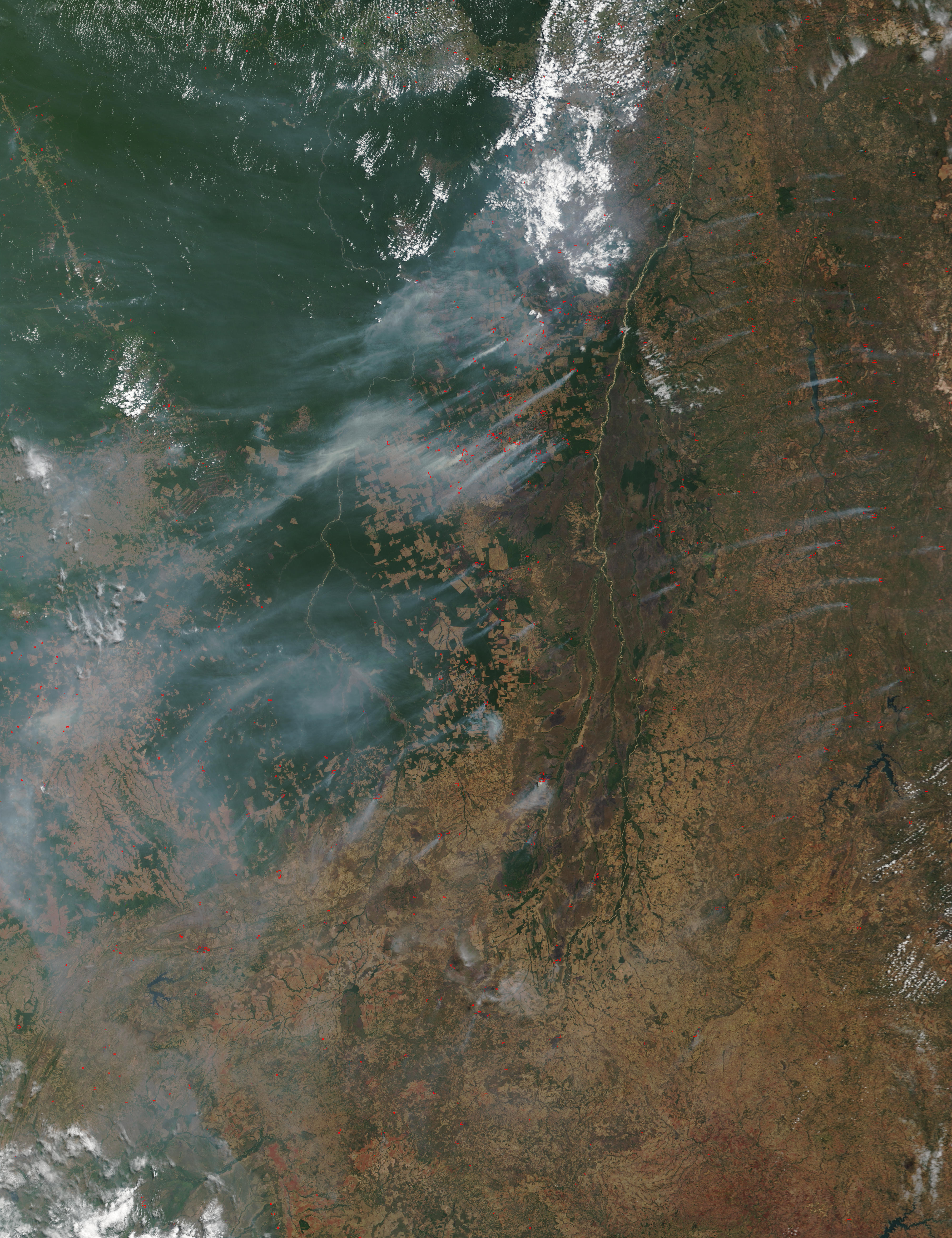 Fires and smoke in Central Brazil