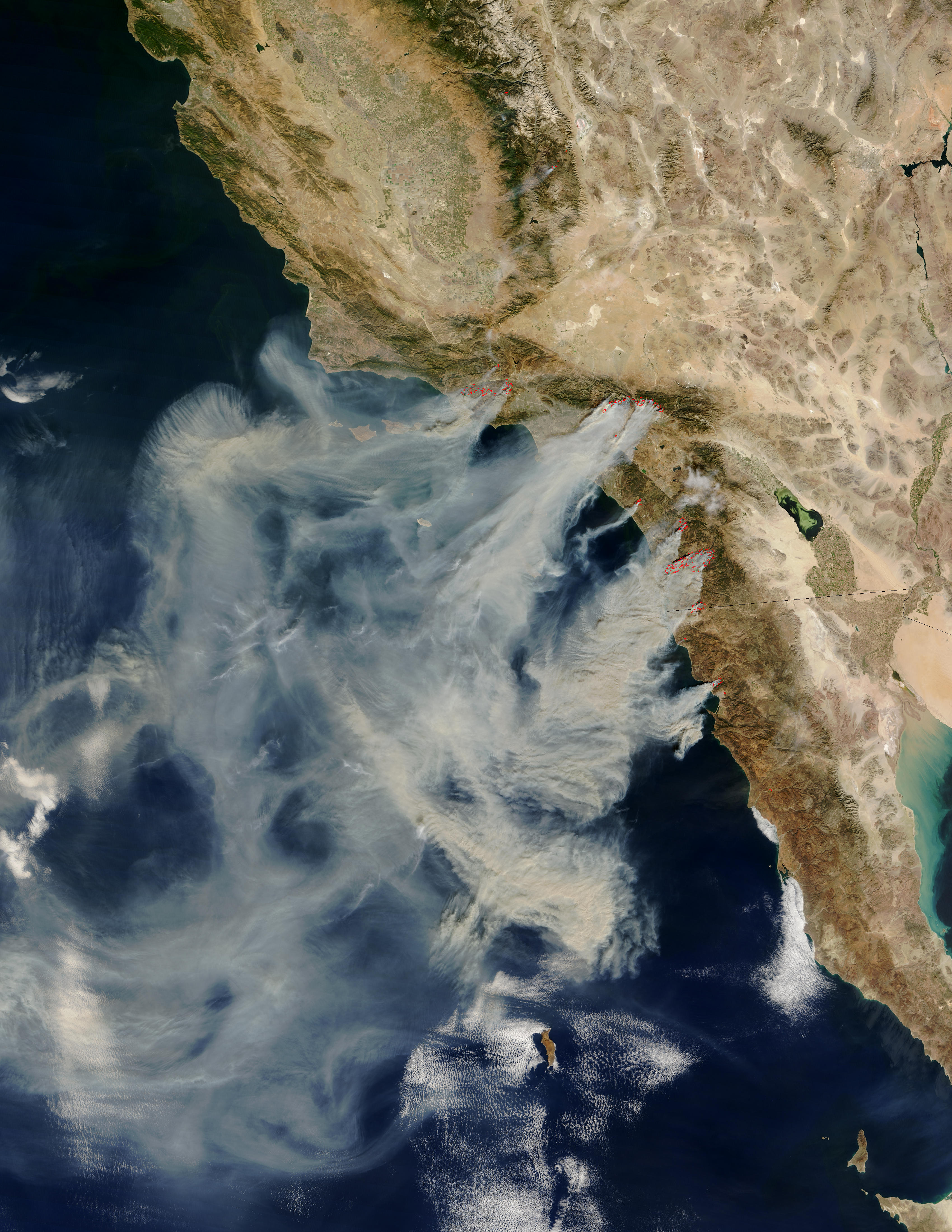 Fires and smoke in southern California