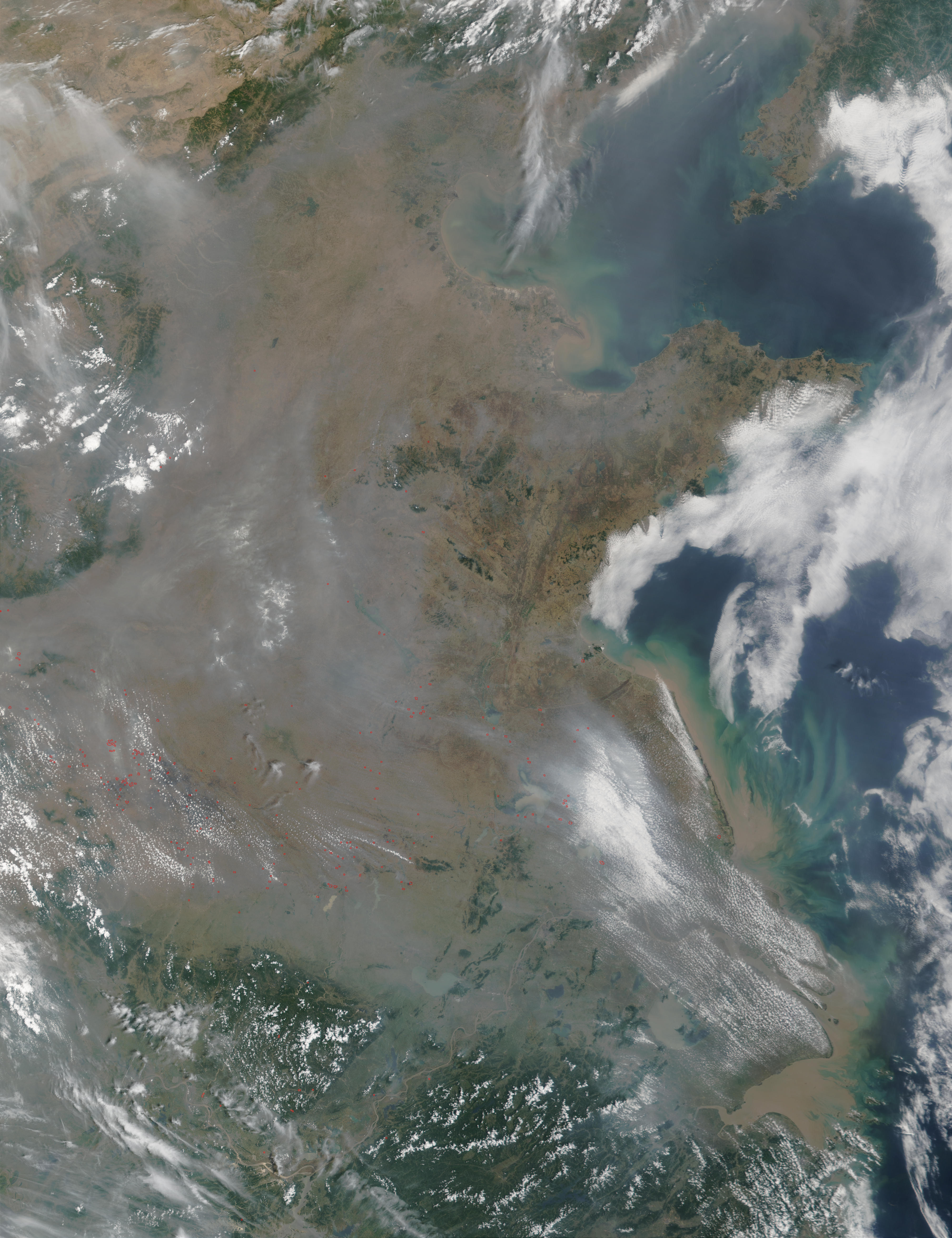Fires and smoke in China