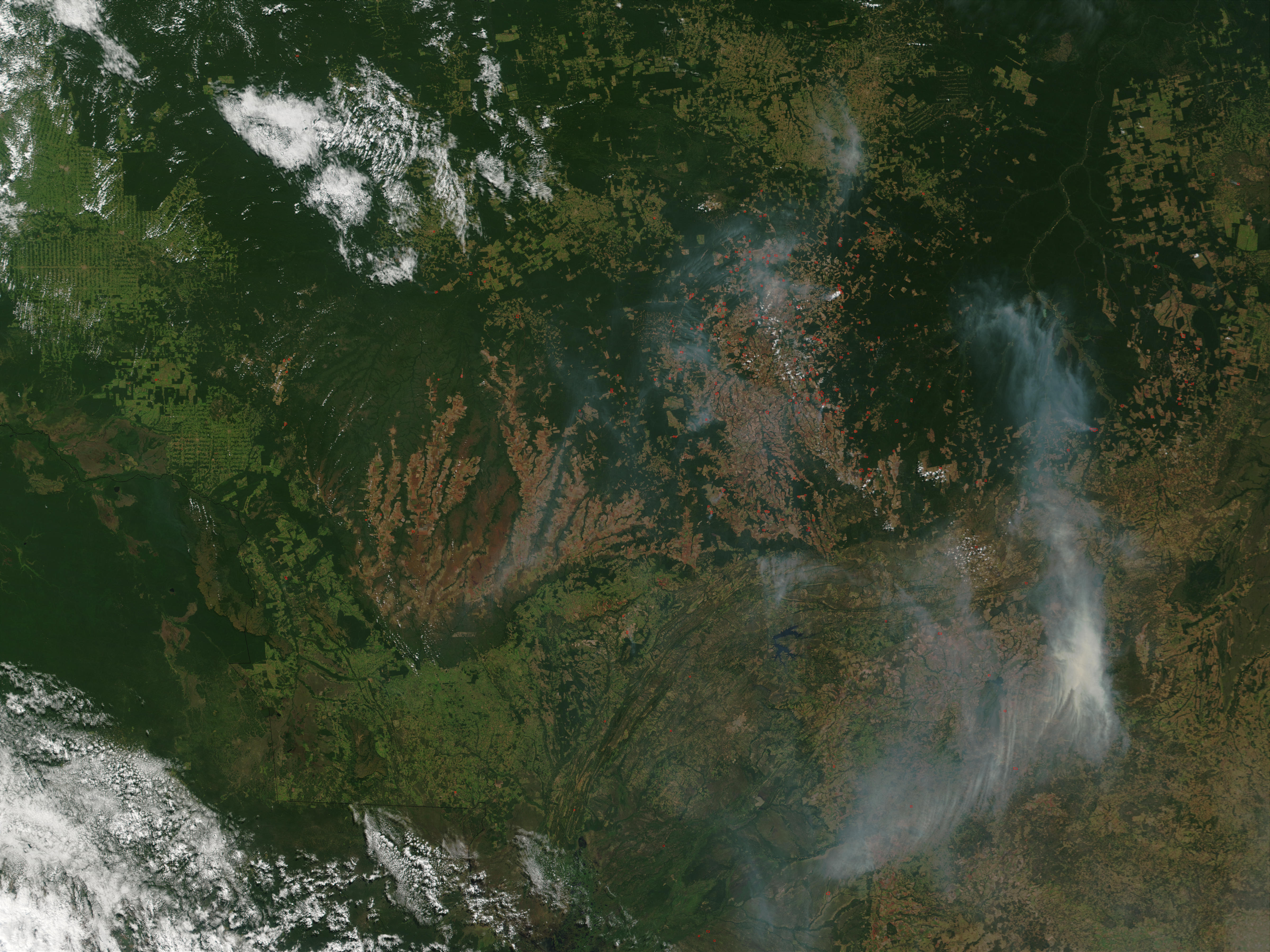Fires and smoke in Mato Grosso, Brazil