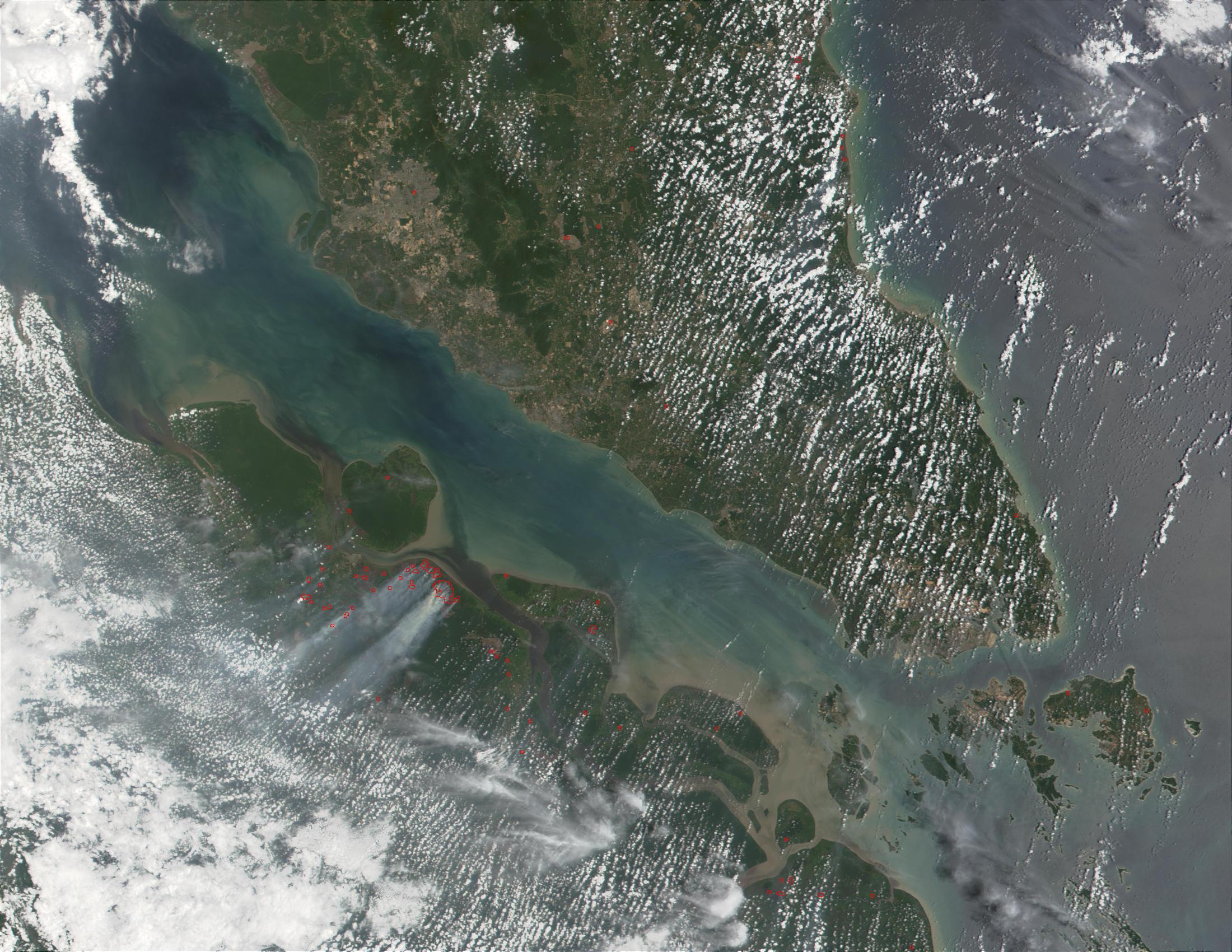 Incendios y humo espeso en Sumatra