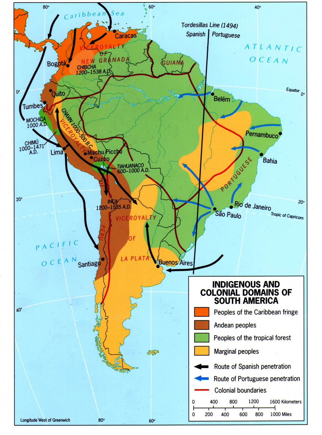 Mapa de Indígenas y dominios coloniales en América del Sur