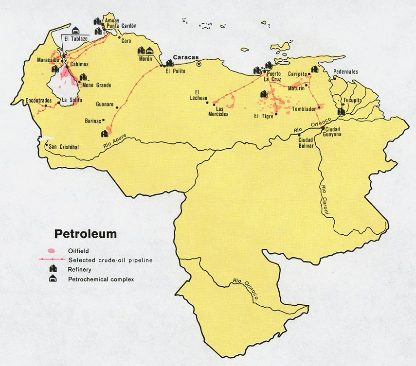 Venezuela Petroleum Map 1972