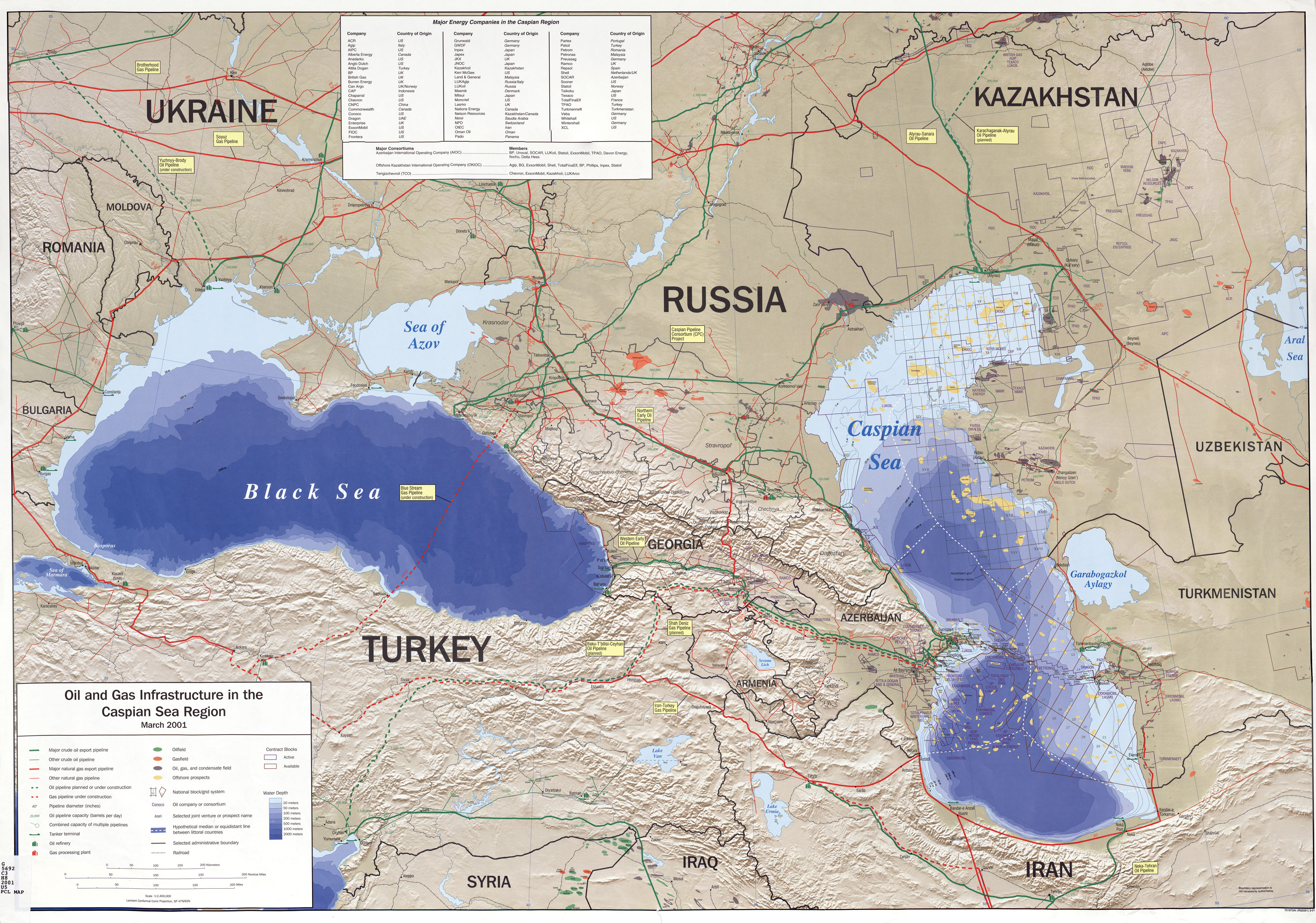 Oil and gas in the Caspian Sea and Black Sea Regions 2001