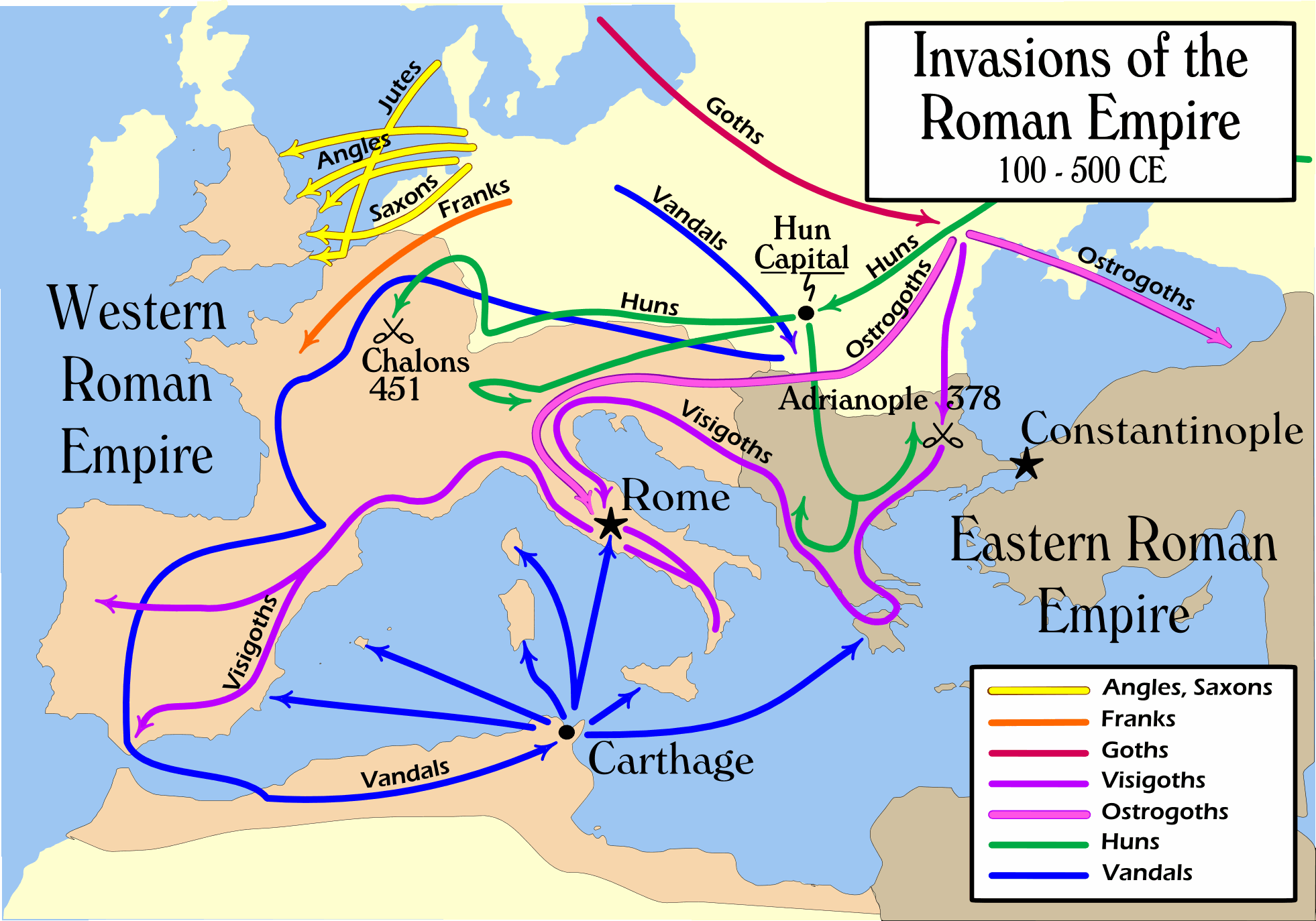Barbarian invasions of the Roman Empire 100 to 500