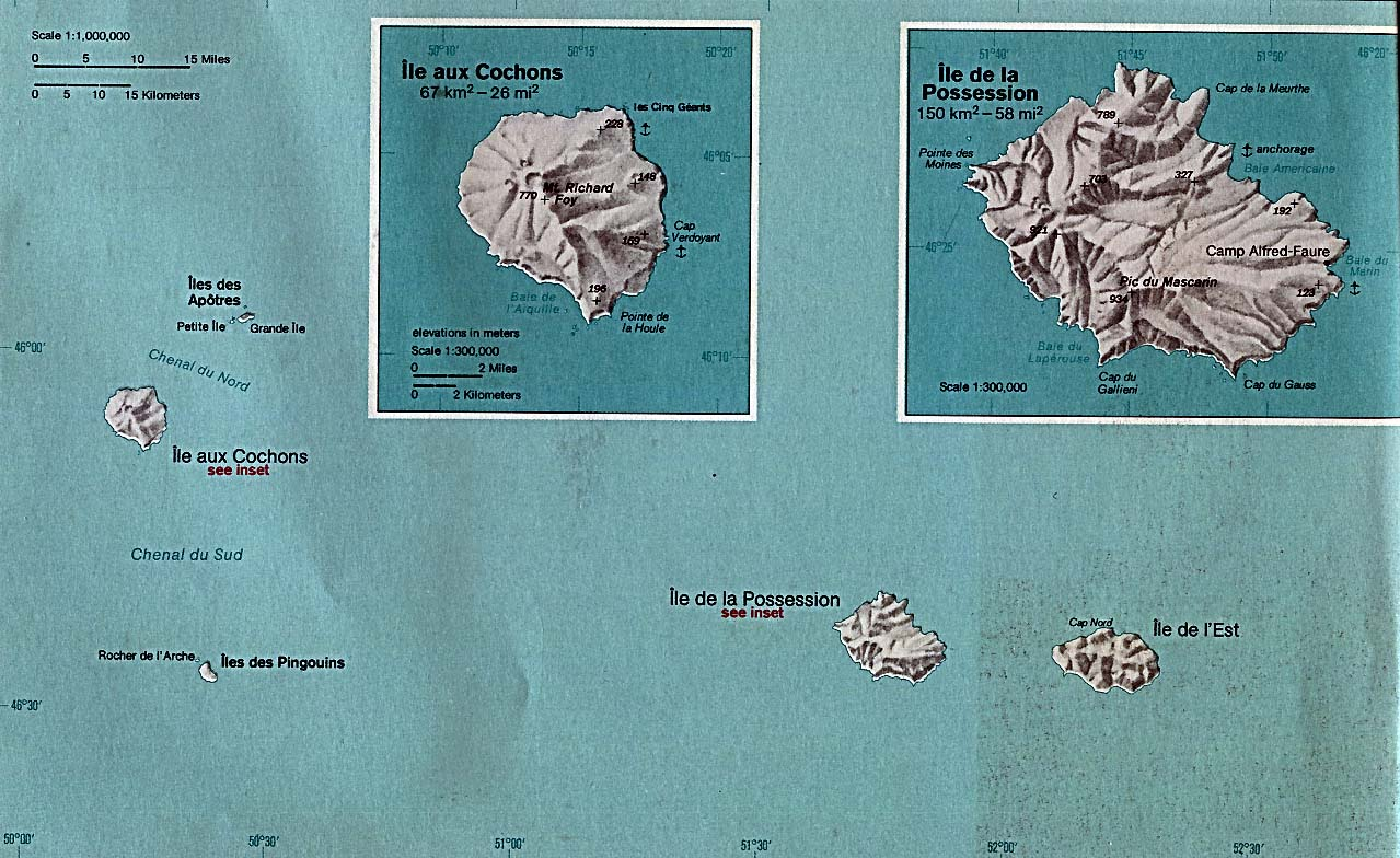 Shaded Relief Map of the Crozet Islands