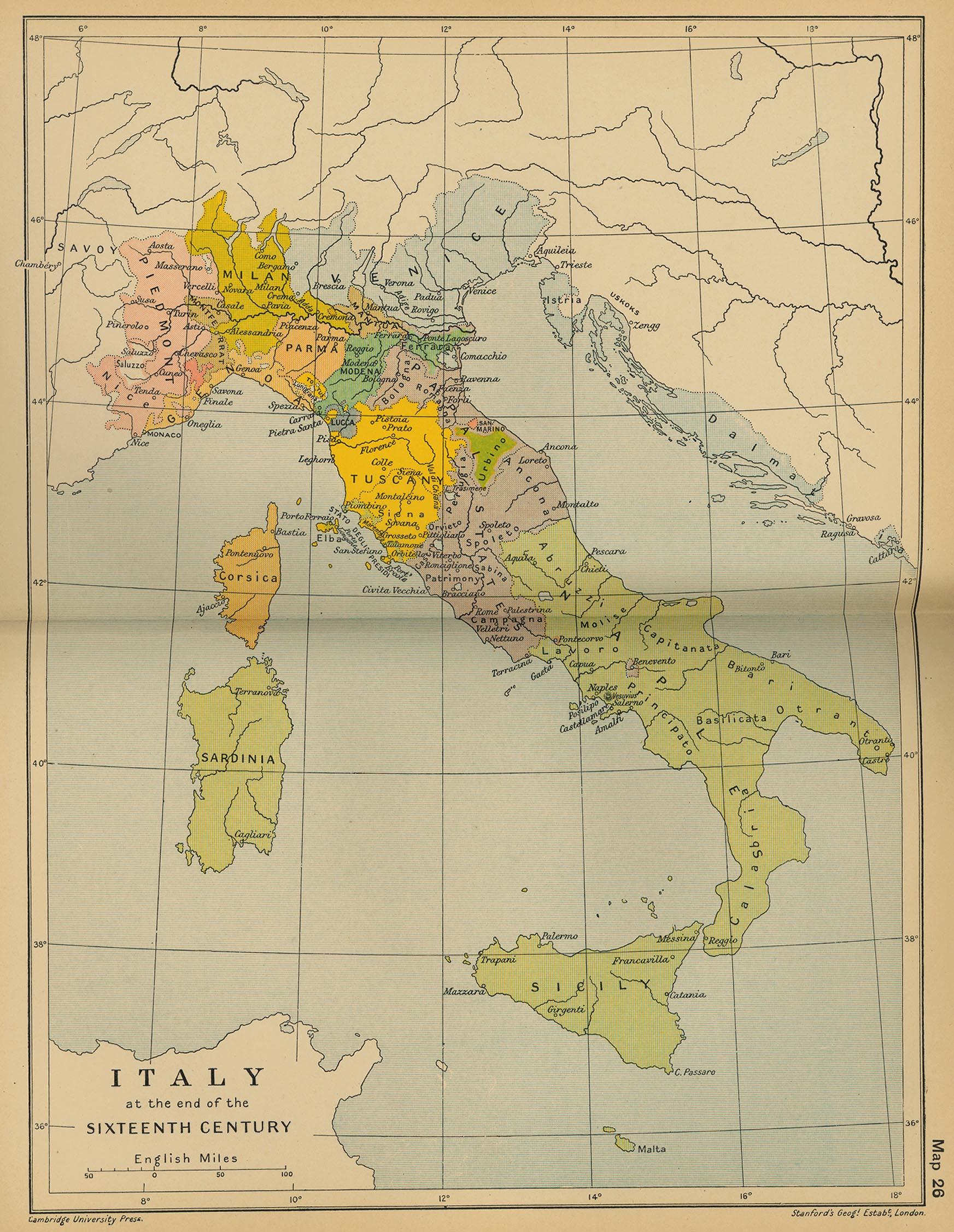Italia a finales del siglo XVI